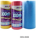#8: PERFECT SHOPO Super Absorbent Cleaning Huge Wipe Roll Value Pack, 1 Roll (100 Pc Sheet - 250x330mm each)- (Random) / on-Woven Roll Cloth Cleaning Cloth Towels Kitchen Towel Disposable Cleaning Cloths Striped Practical Pad Souring