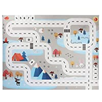 Kids Baby Play Mat,BZLine City Road Buildings Parking Map Game Scene Map Educational Toys Crawling Activity Mat Toys