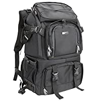 Evecase Extra Large DSLR Camera / Laptop Travel Backpack Gadget Bag w/ Rain Cover - Black for Canon, Nikon, Sony, Fujifilm, Panasonic, Pentax, Samsung, Olympus and More - Black