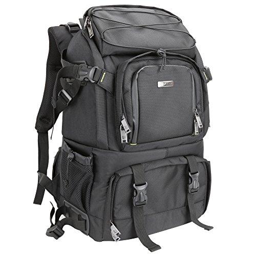 dslr rucksack Evecase Extragroßer DSLR Kamerarucksack für Spiegelreflexkameras und Zubehör mit Regenschutz, Stativhalterung, Laptopfach, Zubehörfächer, Herausnehmbare Trennwand - Schwarz