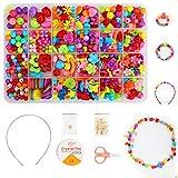 Ucradle 550pcs Niños Bricolaje Conjunto de Cuentas Juego de Cuentas Bricolaje para niños, para Hacer el Collar, Anillo de Pulsera, artesanía joyería para niños niñas Edad 4 5 6 7 8, 24 Tipos (3)