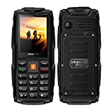 """Mobile phone,2017 New VKworld Stone V3 2.4"""" Sim-Free Mobile phone with Big Button,IP68 Waterproof,Shockproof,Dustproof,LED Flashlight and Triple Sim Triple Standly 2G Unlocked Cell phone for the Elderly/Military(2MP Camera,64MB+64MB,FM Radio,Box Speaker,3000mAh battery,Millet Lamp Gift) (Black)"""