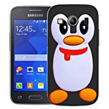 Mobile Case Mate Samsung Galaxy Ace 4 G357 clip on Silicone case cover bumper and Stylus pen - Black Penguin pattern (SILICON)