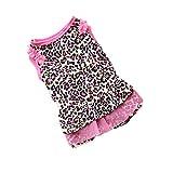 Hawkimin Sommer Haustier Kleid Süß Leopard Kleidung Spitze Rock Rundhals Ärmellos für Kleiner Hund und Katzen Kostüm
