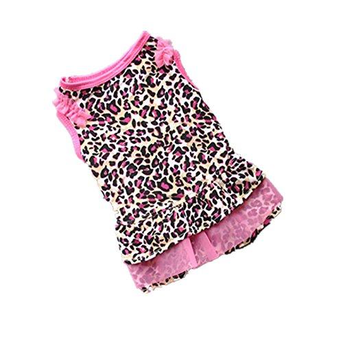 Hawkimin Sommer Haustier Kleid Süß Leopard Kleidung Spitze Rock Rundhals Ärmellos für Kleiner Hund und Katzen - Eisbär Kostüm Für Hunde