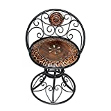 #10: Acme Production Decorative Wooden & Iron Carved Living Room Chair and Bar Chair