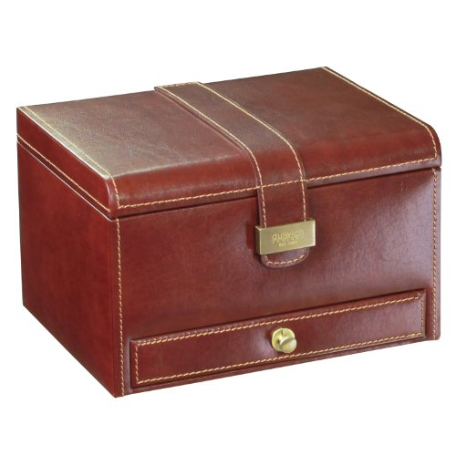 Dulwich Designs 'Heritage' Classic Premium Leather 9 Section Watch Box, Chestnut Brown with Tan Suedette Lining