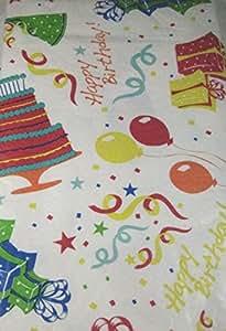 Happy Birthday Cake et les cadeaux d'anniversaire en flanelle Nappe en vinyle Elrene- tailles assorties (52 Forme rectangulaire x 70 cm