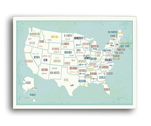 USA Wandkarte Kunstdruck, Motiv USA Wandkarte, Kinderzimmer-Dekoration, Geschlechtsneutrales Kinderzimmer, Reise-Kinderzimmer-Dekoration, Karte der USA 24x36 - Usa-wand-kunst Karte Der
