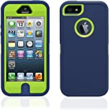 iPhone SE, 5S & 5 Shock Proof Heavy Duty Defender Builders Workman Case Cover with built-in Screen Protector - Blue Green