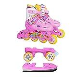 Inline Skates Kinder   NILS  Inliner 3in1   Verstellbare Schlittschuhe Rollschuhe Größenverstellbar   Pink- Blau –Gelb   Größen 27-38 (Pink, 35-38)