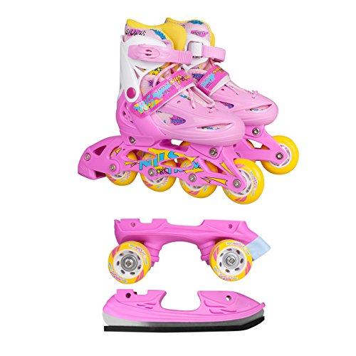 Inline Skates Kinder | NILS| Inliner 3in1 | Verstellbare Schlittschuhe Rollschuhe Größenverstellbar | Pink- Blau –Gelb | Größen 27-38 (Pink, 27-30)