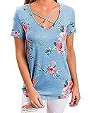 Shmily Girl Donna T Shirt Elegante Estivo Camicia V Scollo Manica Corta con Lacci Maglietta Casual Tops Slim Camicie Blusa Classico Blouses (42, Blu)
