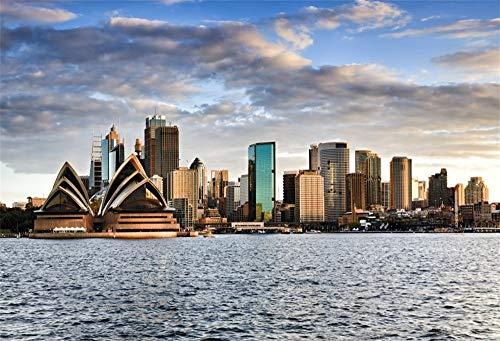 YongFoto 1,5x1m Vinyl Foto Hintergrund Sydney Australia City Scape Opernhaus vom Hafen Fotografie Hintergrund Fotostudio Hintergründe Requisiten