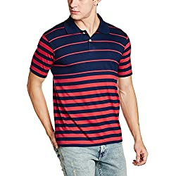 Cloth Theory Men's Striped Regular Fit Cotton Polo (CTCSYD002_X-Large_Navy)