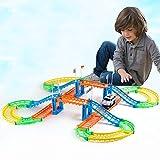 WDXIN Auto Giocattolo Garage Giocattoli educativi Bambini Che assemblano vagoni elettrici Traccia Urbana a Doppio Strato Giocattolo del Piccolo Treno.