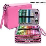 Grande astuccio portamatite in pelle PU con 184 scomparti per matite colorate, impermeabile, astuccio a 4 strati Rosa
