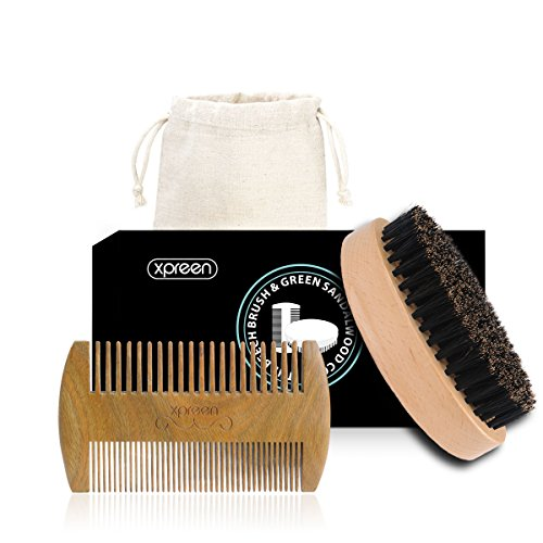 beard-comb-and-brush-xpreen-100-handmade-green-sandal-wood-double-side-tooth-comb-100-pure-real-wood