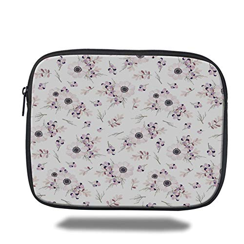 Tablet Bag for Ipad air 2/3/4/mini 9.7 inch,Anemone Flower,Shabby Chic Spring Pattern Blossoming Bridal Bouquets Romantic Decorative,Baby Pink Lilac Purple,Bag