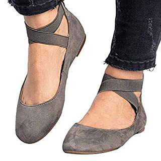 Poplover Womens Ballerinas Dolly Flats Shoes Ankle Elastic Strap Ballet Flats Grey 6 UK