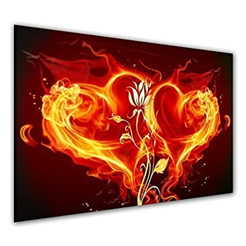 BILDER-MANUFAKTUR, LEINWANDBILDER, KUNSTDRUCK, WANDBILD, BILD, BILDER, 6260-1, HERZEN LIEBE LOVE HEART FEUER