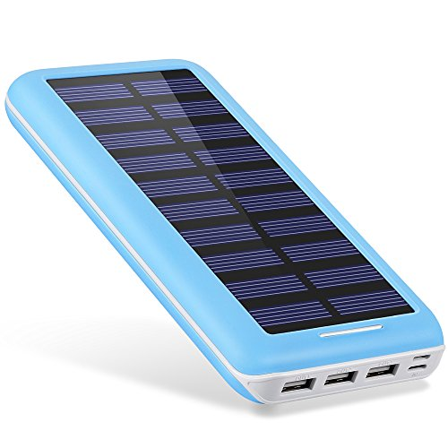 Battery Pack AKEEM mobile or portable Charger 22000mAh External Battery with the help of twice enter Port and Solar Charger,3 USB Ports for iPhone, iPad, Samsung Galaxy, Android and a number of smart products and solutions - stash in EU and UK