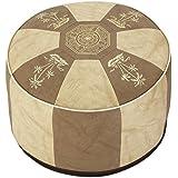 Asiento con forma de cubo puff taburete taburete redondo Tabouret muebles de piel sintética marrón claro/beige claro-blanco Diámetro 50/34 cm
