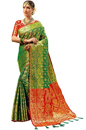Ethnicjunction Persian Animal Art Woven Tanchoi Silk Saree With Unstitched Blouse Piece ( EJ1175-1001 , Green )