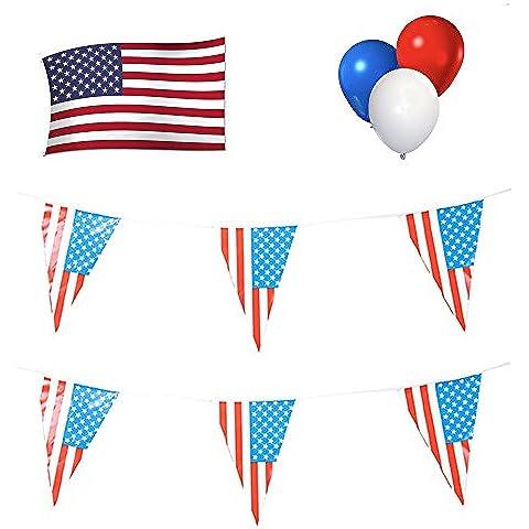 USA partito set: 12M di bandierine + 1,5x 0,9m Bandiera
