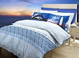Bombay Dyeing Around The World Cotton Double Bedsheet and 2 Pillow Covers - Blue