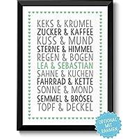 DU & ICH - personalisiertes Bild für Paare Ehepaare Geschwister Eltern Freunde - Rahmen optional - Geschenk Weihnachten Geburtstag Jahrestag Hochzeitstag Hochzeit