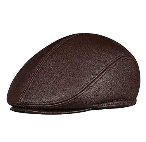 Hüte Herren Sommer Newsboy Xxl (Flache Mütze Newsboy Hut Herren Leder Mütze Ivy Flat Cap Gatsby Fahrer Wintermütze,Brown-XXL)