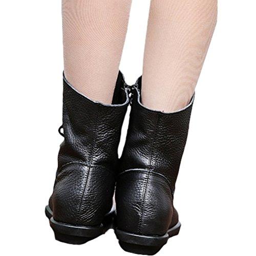 Vogstyle Femme Bottes Courtes avec Lace en Cuir Couple Zippées Style-1 Toison Noir