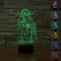 SmartEra® Personajes de Star Wars Movie Maestro Yoda USB 3D de la ilusión óptica 7 cambio del color del botón del tacto de la lámpara de luz LED