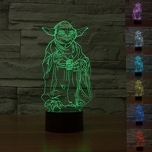 SmartEra® Guerre Stellari Personaggi Maestro Yoda USB 3D Button Optical Illusion 7 cambiamento di colore di tocco LED Light Lamp
