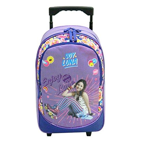 Sac à dos à roulettes violet pour filles en CE1/CE2. Motifs Soy Luna de Disney