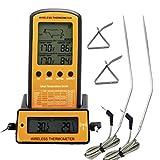 UxradG Digital Fleisch Thermometer, kabelloser Fernbedienung Kochen Fleisch Smoker Thermometer mit Dual Sonde, für BBQ, Smoker, Grill, Ofen, Fleisch Thermometer mit Timer Funktionen