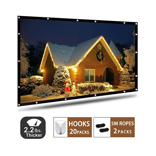 Beamer Leinwand, AYAOQIANG 4K 3D HD 16: 9 120 Zoll Einfache Zusammenfaltbare Projektionswand- Knitterfest Unterstützung Doppelseitigen Projektion für Heimkino und Freiluftkino