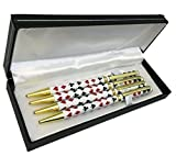JYW Boxed Set of Bridge Pens - 4 Metal Barrel Pens in Gift Box with 4 FREE REFILLS!