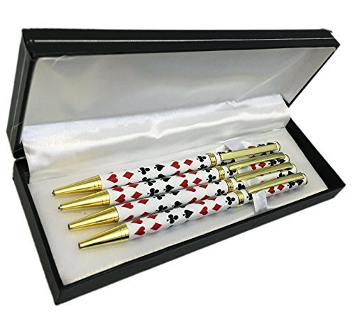 jyw-boxed-set-of-bridge-pens-4-metal-barrel-pens-in-gift-box-with-4-free-refills