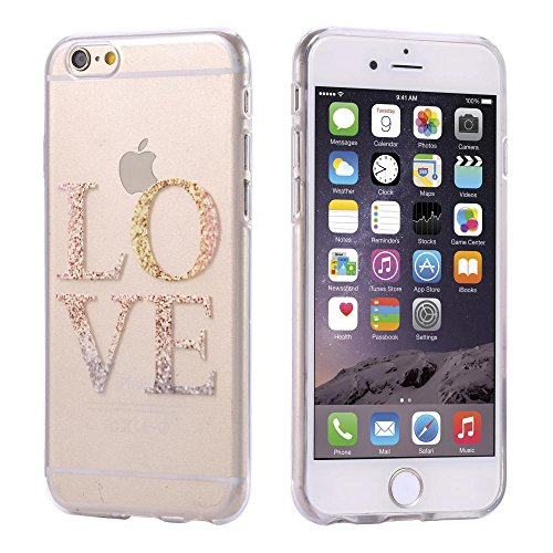 ECENCE APPLE IPHONE 6 6S (4,7) SLIM TPU CASE SCHUTZ HÜLLE HANDY TASCHE COVER TRANSPARENT DURCHSICHTIG CLEAR 12020501 Love