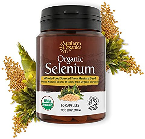 Organic Selenium 200mcg Iodine and Silica contributing to normal Thyroid and Immune function – 2 Month Supply - Whole Food Supplement - Certified Organic by Soil