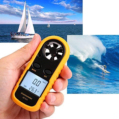 Abnaok Anemómetro, medidor de velocidad de viento digital de mano, medidor de velocidad de flujo de aire con luz de fondo para windsurf, vela, mosca de cometa, pesca de surf (amarillo)