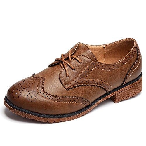 Odema donne retro vintage merletto piattaforma conforto oxfords scarpe tacco medio cachi