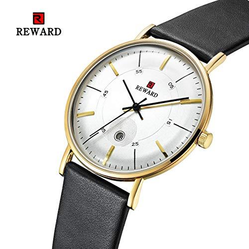 HWCOO Schöne Coole Uhr Reward Herrenuhr Ultradünner Gürtel Gebogener Spiegel Kalender Herrenuhr wasserdichte Quarzuhr Herrenuhr (Color : 1)