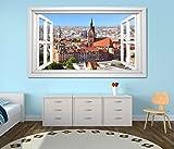 3D Wandtattoo Fenster Skyline Hannover Stadt weiß Wand Aufkleber Wanddurchbruch sticker selbstklebend Wandbild Wandsticker Wohnzimmer 11O2724, Wandbild Größe F:ca. 162cmx97cm