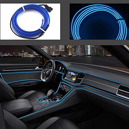 Cable de neón USB para interior de coche, bicicleta, cosplay, festival, decoración, luces LED electroluminiscentes brillantes con luz de transmisión, tira de 12 V, azul, 5 m