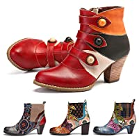 gracosy Womens Ankle Boots Ladies Leather Low Block Heel Booties Autumn Casual Smart Party Shoes Handmade Warm Booties with Bohemian Splicing Pattern Zipper Shoes Vintage Wedding Pumps Red 8 UK