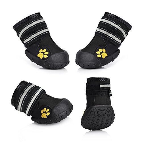 Magic Zone Wasserdichte Hundeschuhe Rutschfeste Hundeschnee Stiefel für verschiedene Größen 4pcs (Leuchten Tennis Schuhe)