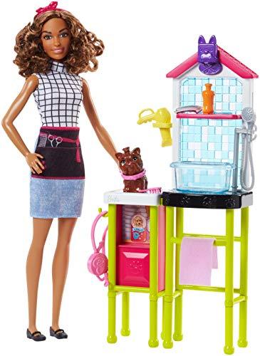 Barbie Playset Toelettatrice, con Cagnolino, Tavolo per la Toelettatura e Accessori, Multicolore, FJB31